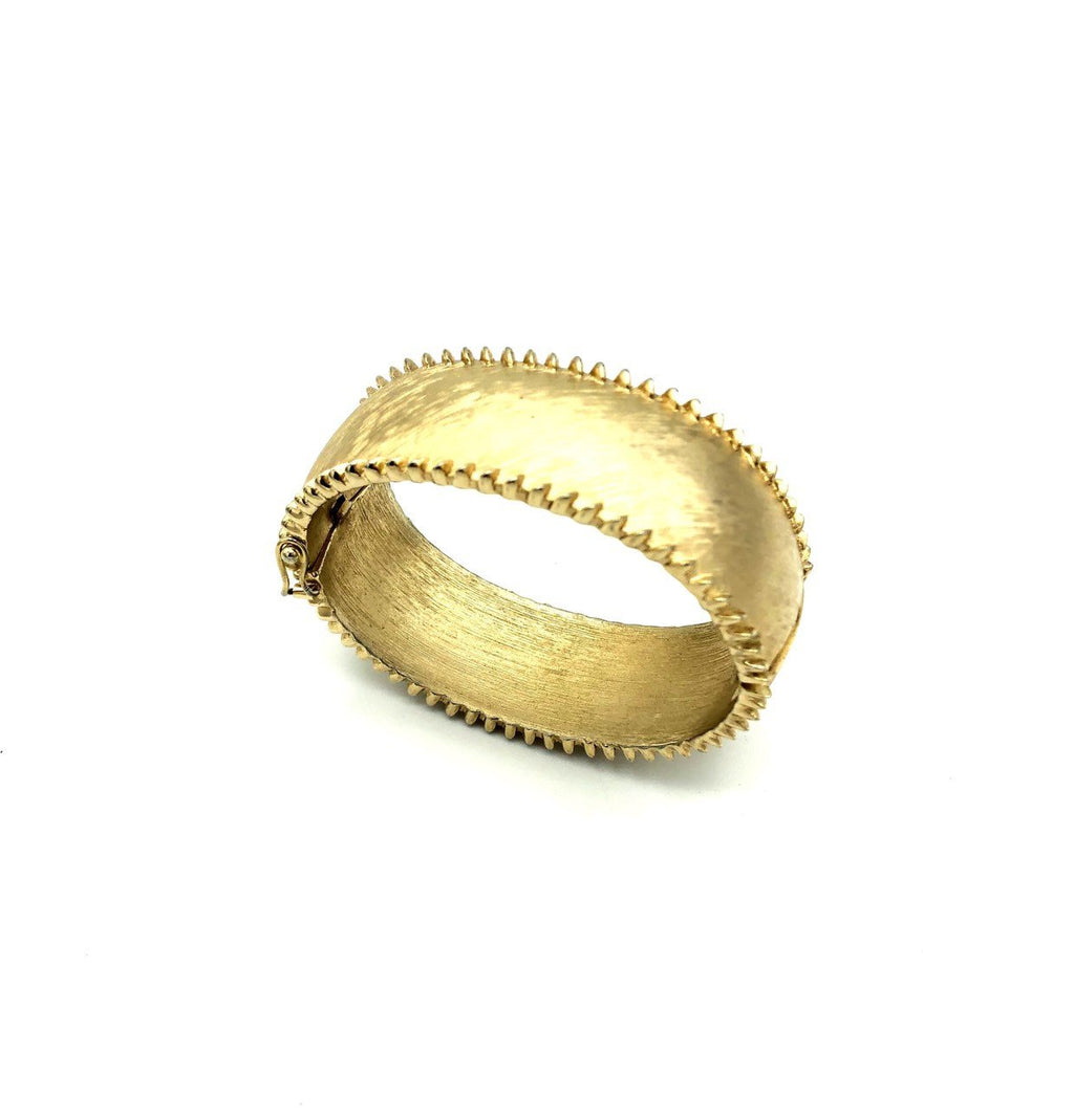 Wide Gold Vintage Trifari Hinged Bangle Bracelet-Sustainable Fashion with Vintage Style-Trending Designer Fashion-24 Wishes
