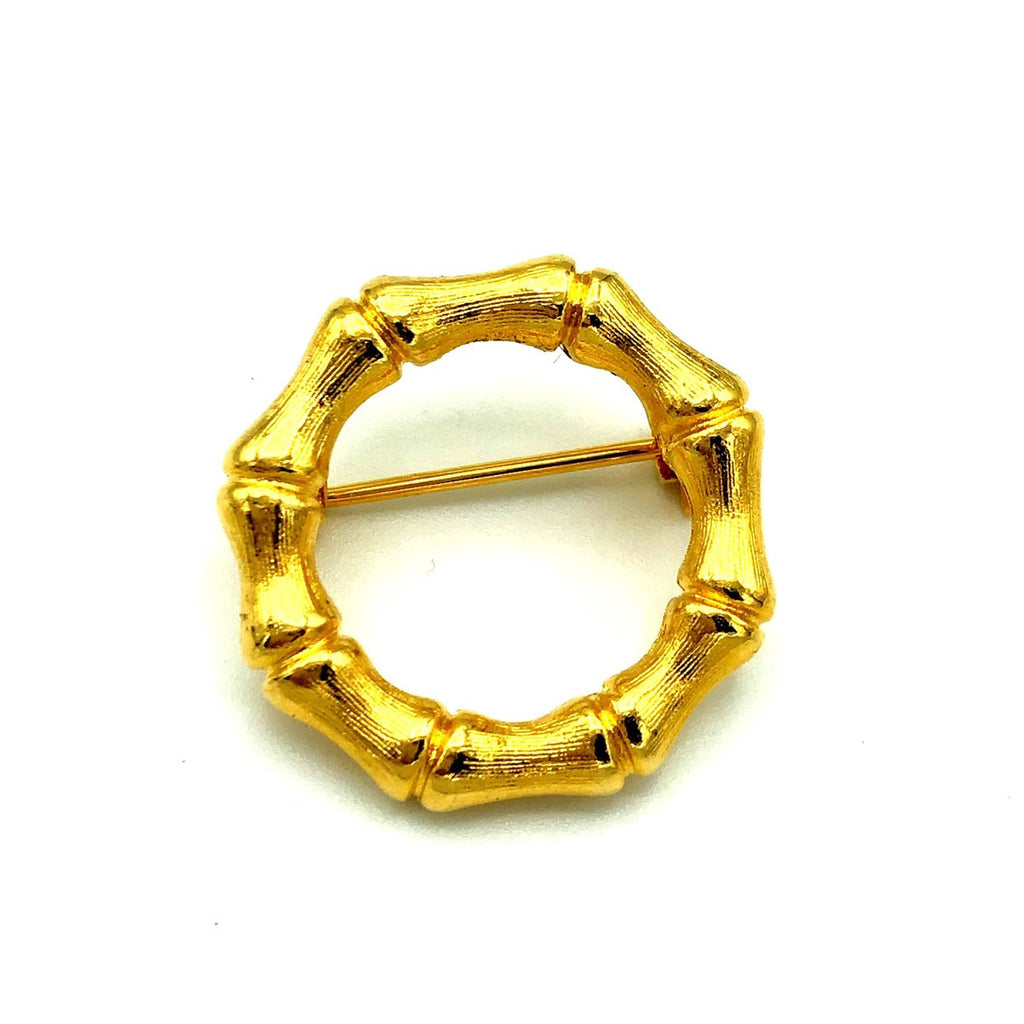 Classic Gold Bamboo Circle Brooch Pin