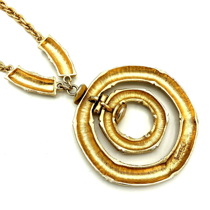 update alt-text with template Napier Large Gold Bamboo Circle Vintage Pendant-Necklaces & Pendants-24 Wishes-[trending designer jewelry]-[napier jewelry]-[Sustainable Fashion]