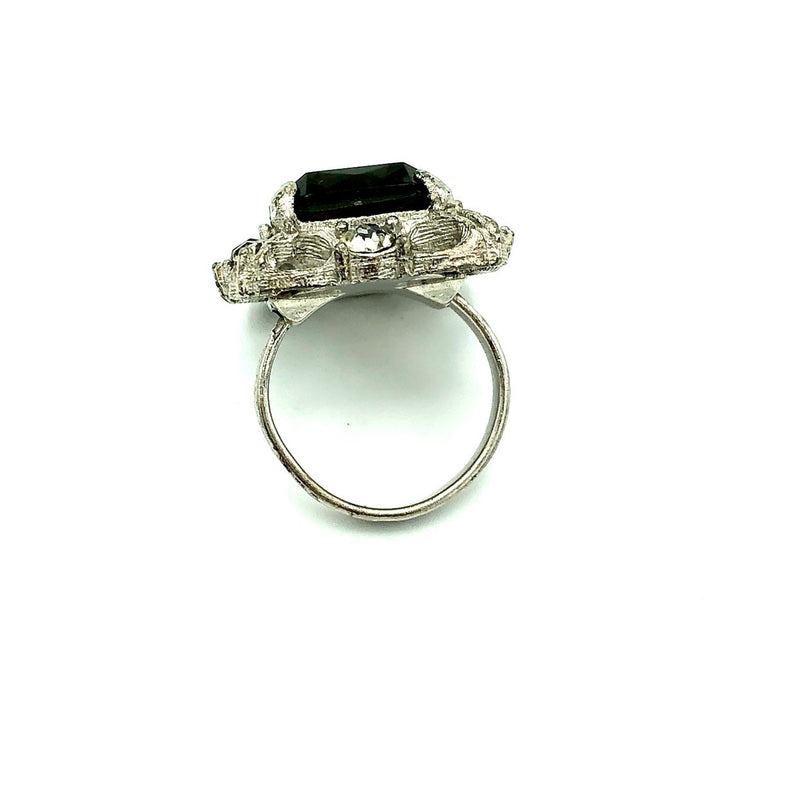 Vintage Sarah Coventry Smokey Quartz Glass Cocktail Ring