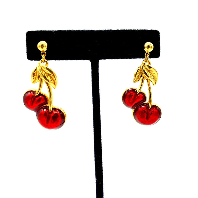 Vintage Gold Avon Red Cherry Dangle Earrings-Sustainable Fashion with Vintage Style-Trending Designer Fashion-24 Wishes