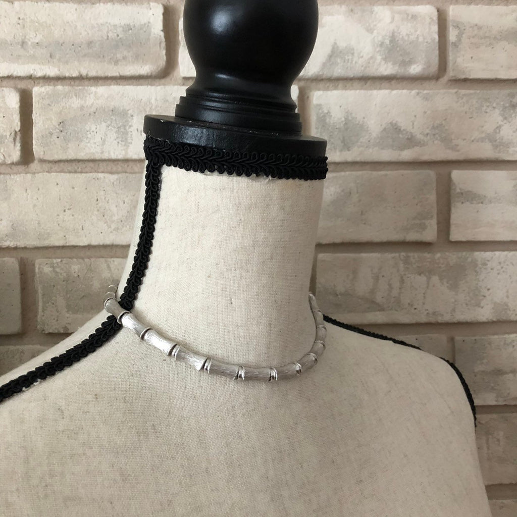 Dainty Vintage Silver Crown Trifari Chain Layering Necklace