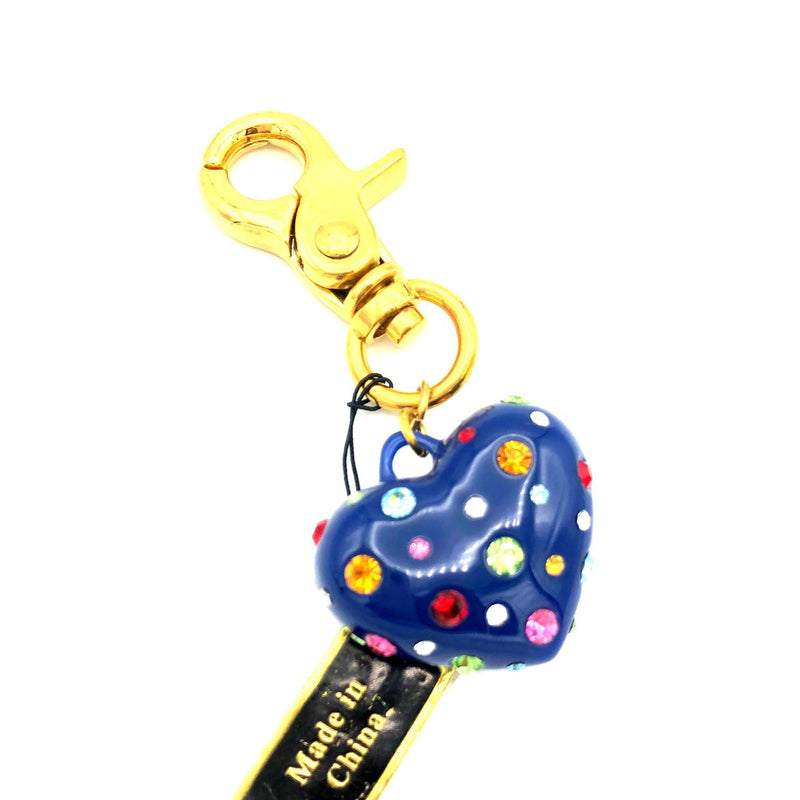 Vintage Joan Rivers Blue Puffy Heart Bag Charm