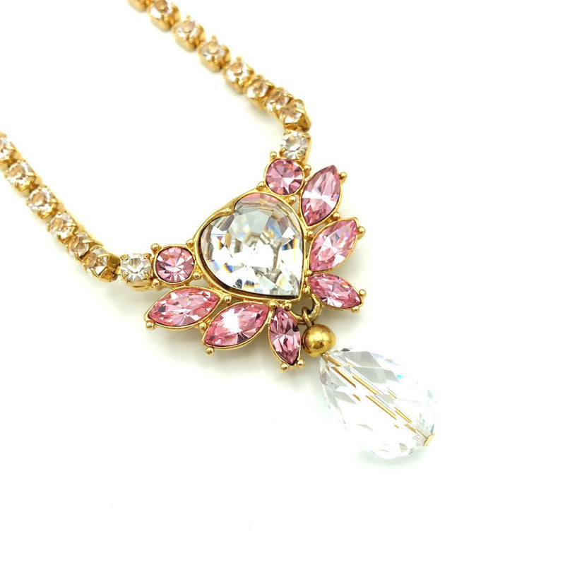 Vintage Monet Pink Crystal Heart Jewelry Set