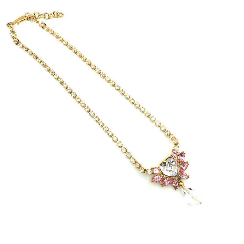 update alt-text with template Vintage Monet Pink Crystal Heart Jewelry Set-Necklaces & Pendants-Monet-[trending designer jewelry]-[monet jewelry]-[Sustainable Fashion]