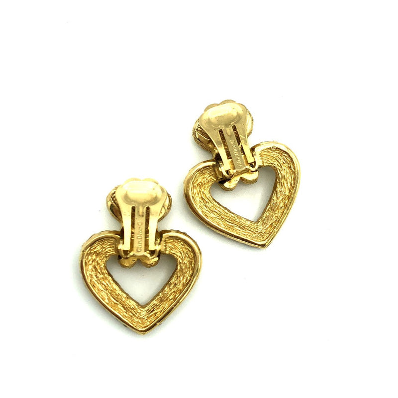 update alt-text with template Christian Dior Heart Door Knocker Clip-On Vintage Earrings-Earrings-Christian Dior-[trending designer jewelry]-[christian dior jewelry]-[Sustainable Fashion]