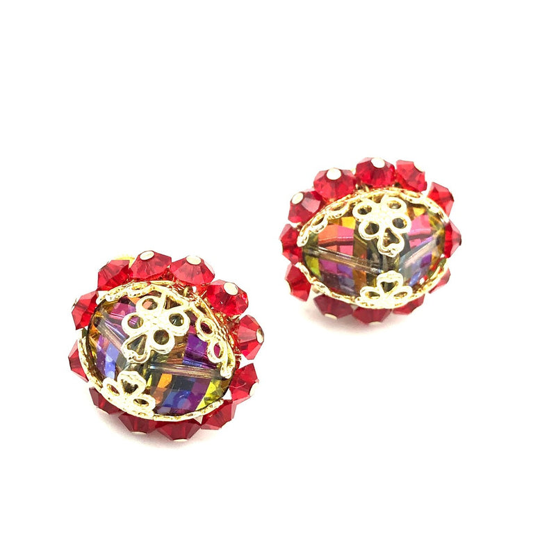 Vendome Red Watermelon Crystal Vintage Earrings