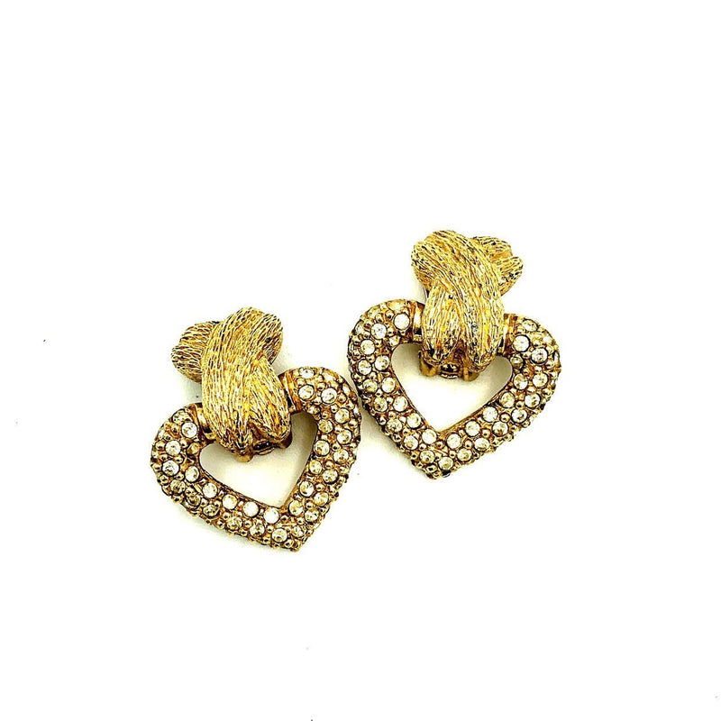 Vintage Christian Dior Heart Door Knocker Versatile Earrings