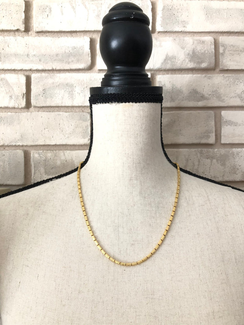 Gold Layering Chain Vintage Goldette Necklace-Sustainable Fashion with Vintage Style-Trending Designer Fashion-24 Wishes