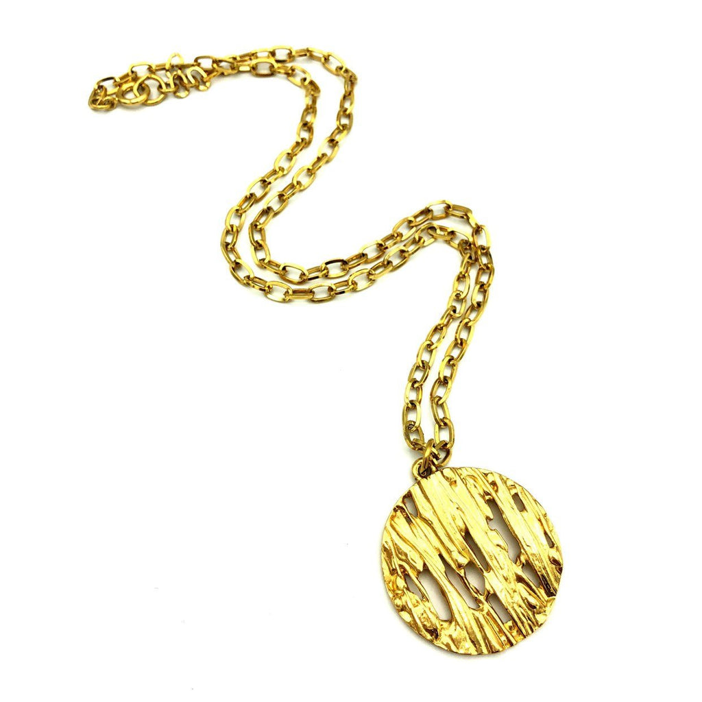 Gold Crown Trifari Medallion Vintage Pendant