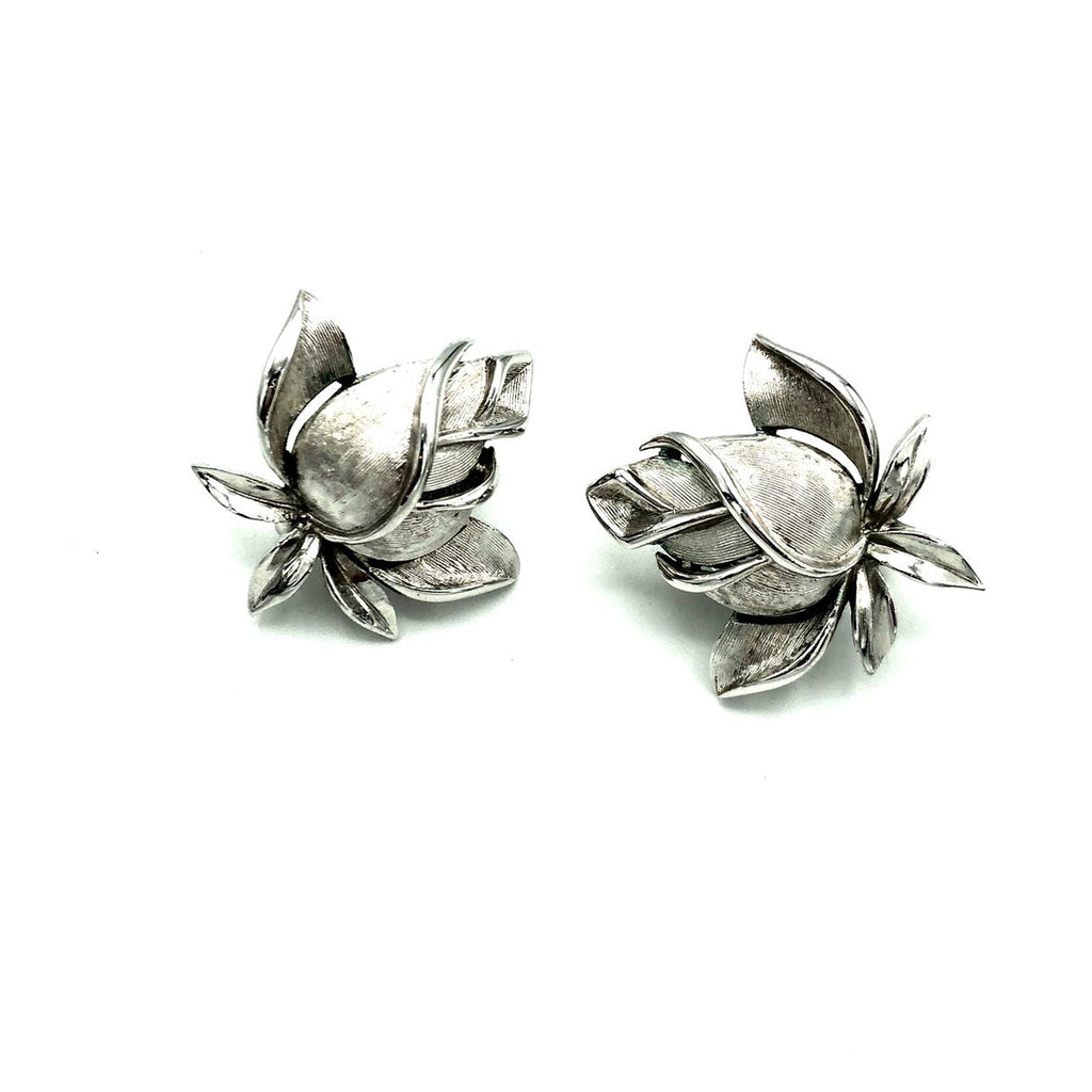 Crown Trifari Rosebud Silver Vintage Earrings