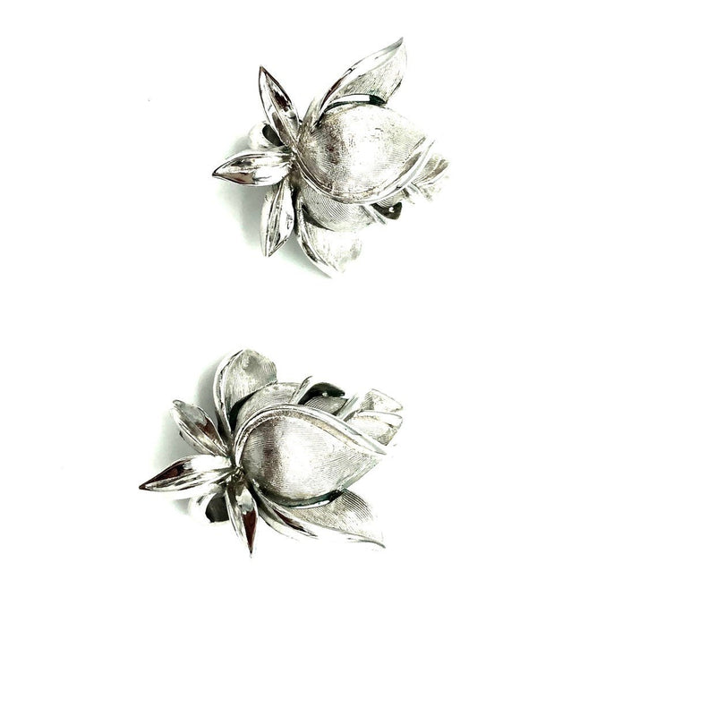 update alt-text with template Crown Trifari Rosebud Silver Vintage Clip-On Earrings-Earrings-Trifari-[trending designer jewelry]-[trifari jewelry]-[Sustainable Fashion]
