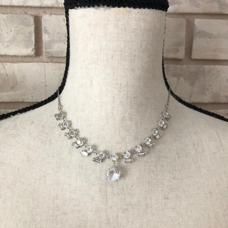 Vintage Sterling Silver Art Deco Clear Crystals Rhinestone Occasion Pendant-Sustainable Fashion with Vintage Style-Trending Designer Fashion-24 Wishes