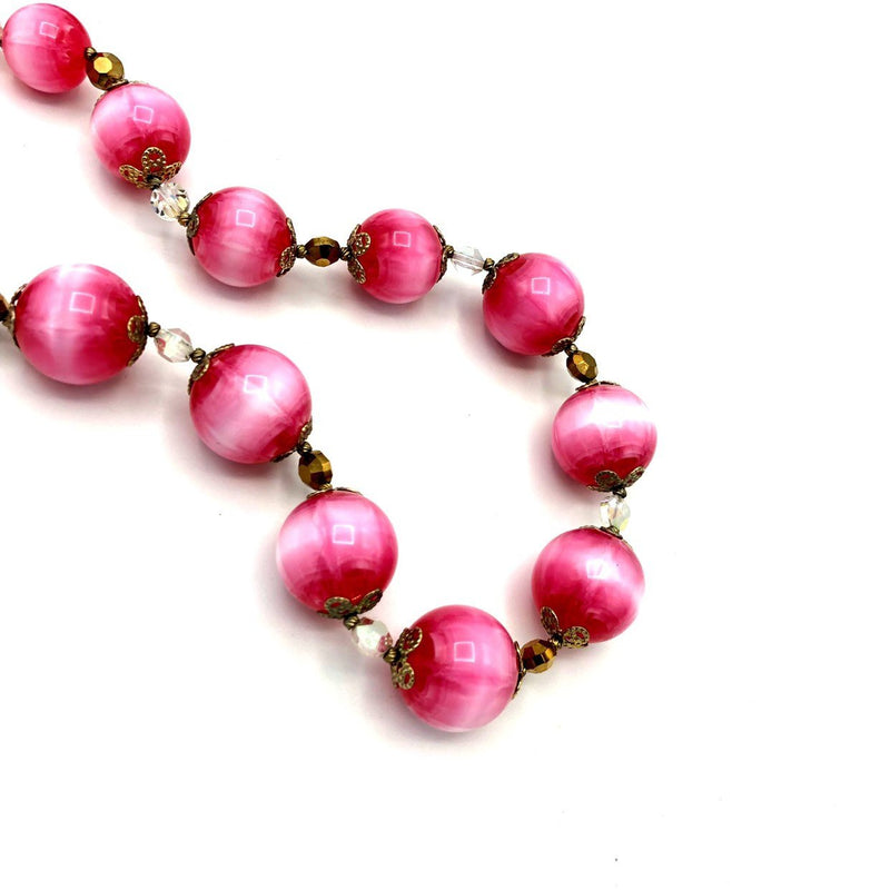Vintage Vendome Pink Lucite Crystal Bead Necklace