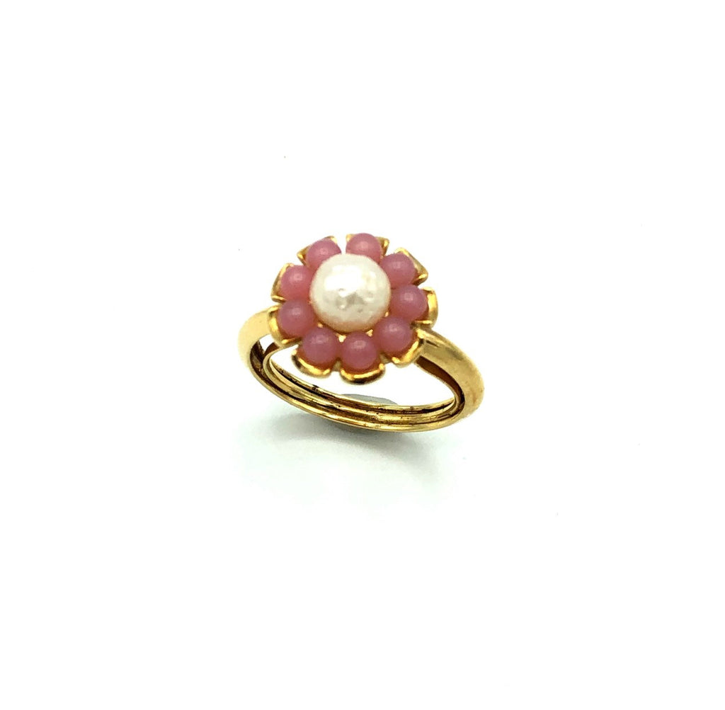 Avon Pearl & Pink Flower Vintage Cocktail Ring