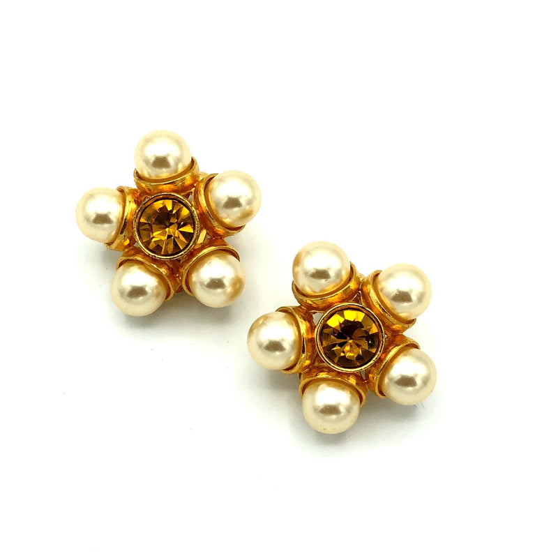 Classic Gold Rhinestone & Pearl Cluster Vintage Earrings