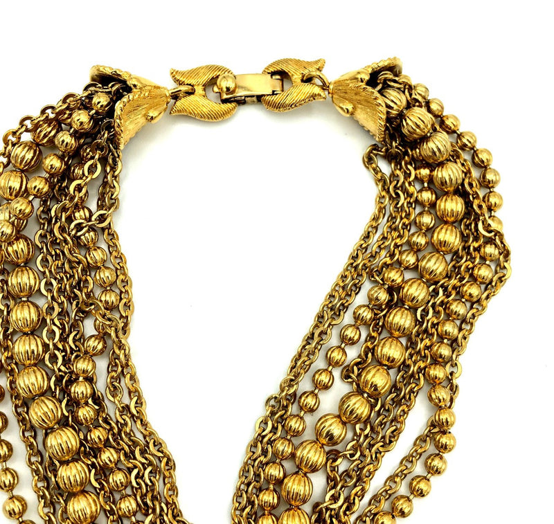 Vintage Gold Monet Ball Bead Chains Layering Necklace