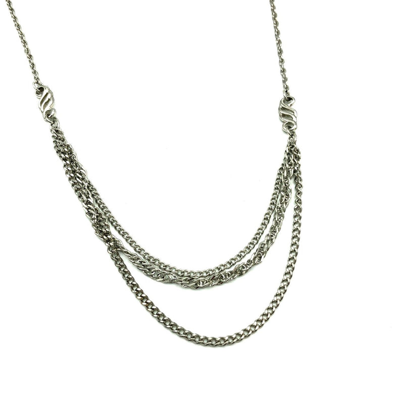Silver Celebrity NY Layering Chains Vintage Necklace