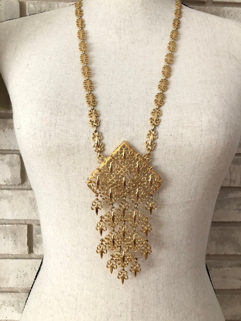 Vintage Monet Gold Filigree Statement Pendant