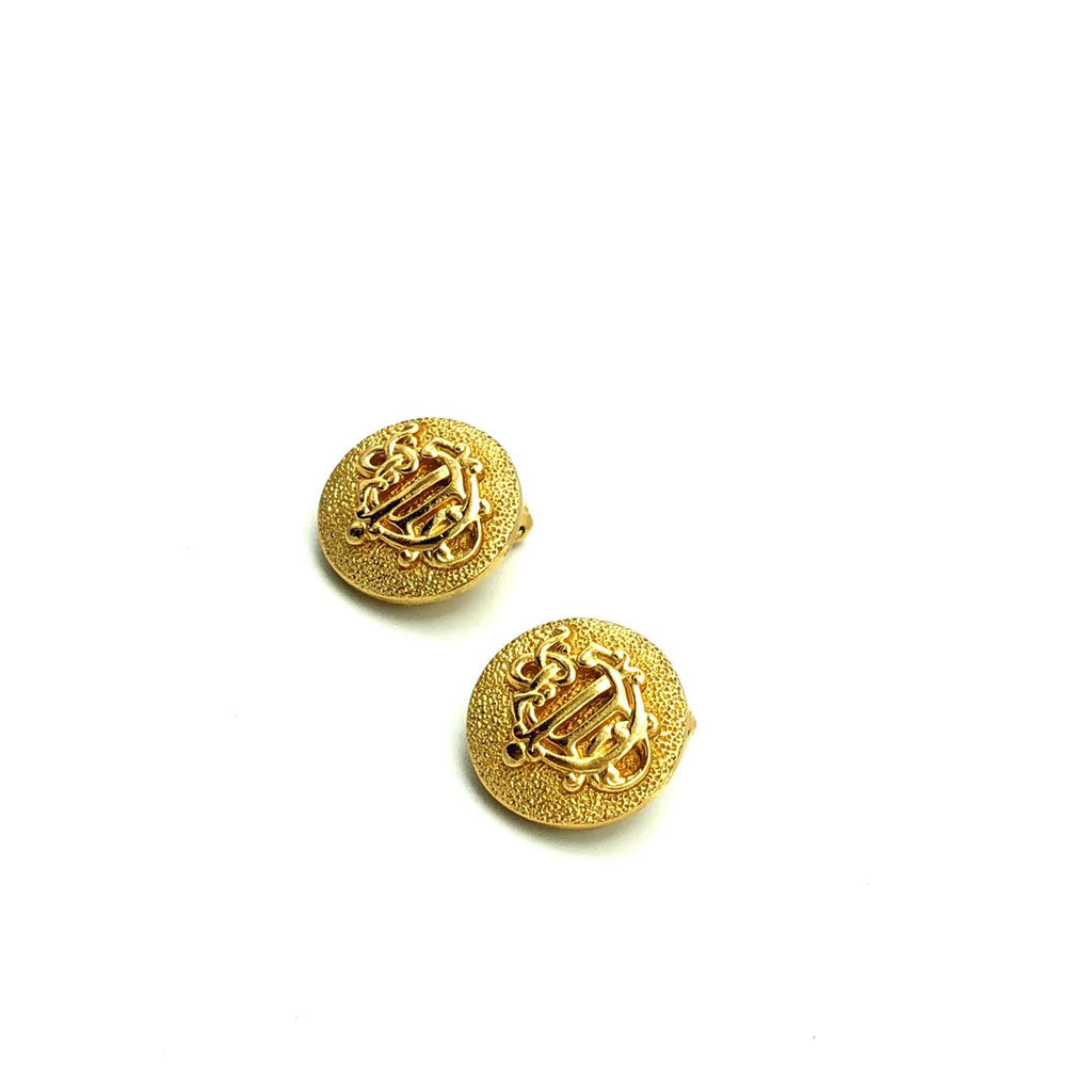 Christian Dior Gold Logo Monogram Vintage Earrings