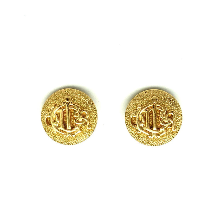 update alt-text with template Christian Dior Gold Logo Monogram Vintage Clip-On Earrings-Earrings-Christian Dior-[trending designer jewelry]-[christian dior jewelry]-[Sustainable Fashion]