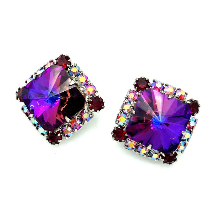 Vintage Purple Square Rivoli Earrings-Sustainable Fashion with Vintage Style-Trending Designer Fashion-24 Wishes