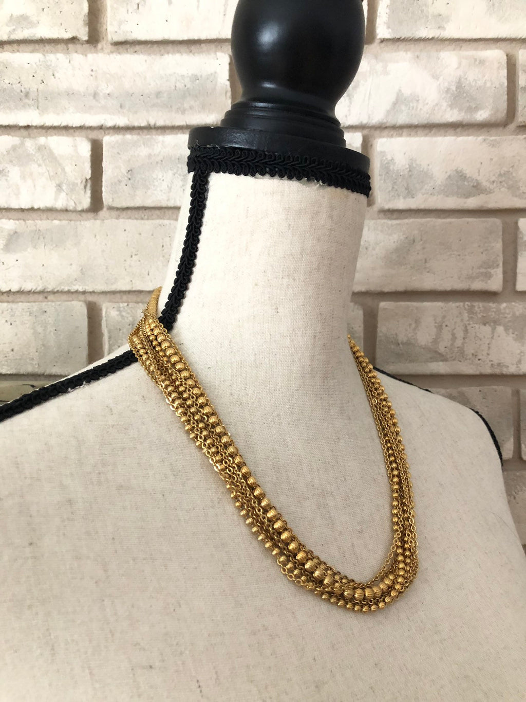 update alt-text with template Vintage Gold Monet Ball Bead Chains Layering Necklace-Necklaces & Pendants-Monet-[trending designer jewelry]-[monet jewelry]-[Sustainable Fashion]