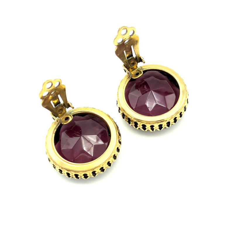 Large Vintage Weiss Amethyst Purple Glass Earrings-Sustainable Fashion with Vintage Style-Trending Designer Fashion-24 Wishes