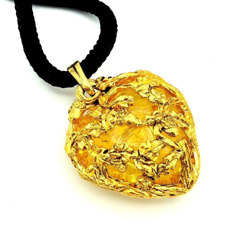 JACKY DE G Gold Heart Vintage Lucite Pendant-Sustainable Fashion with Vintage Style-Trending Designer Fashion-24 Wishes
