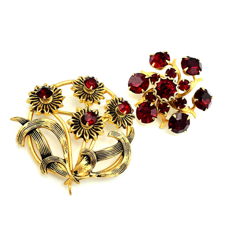 Vintage Red Rhinestone Floral Feminine Brooch Set-Sustainable Fashion with Vintage Style-Trending Designer Fashion-24 Wishes
