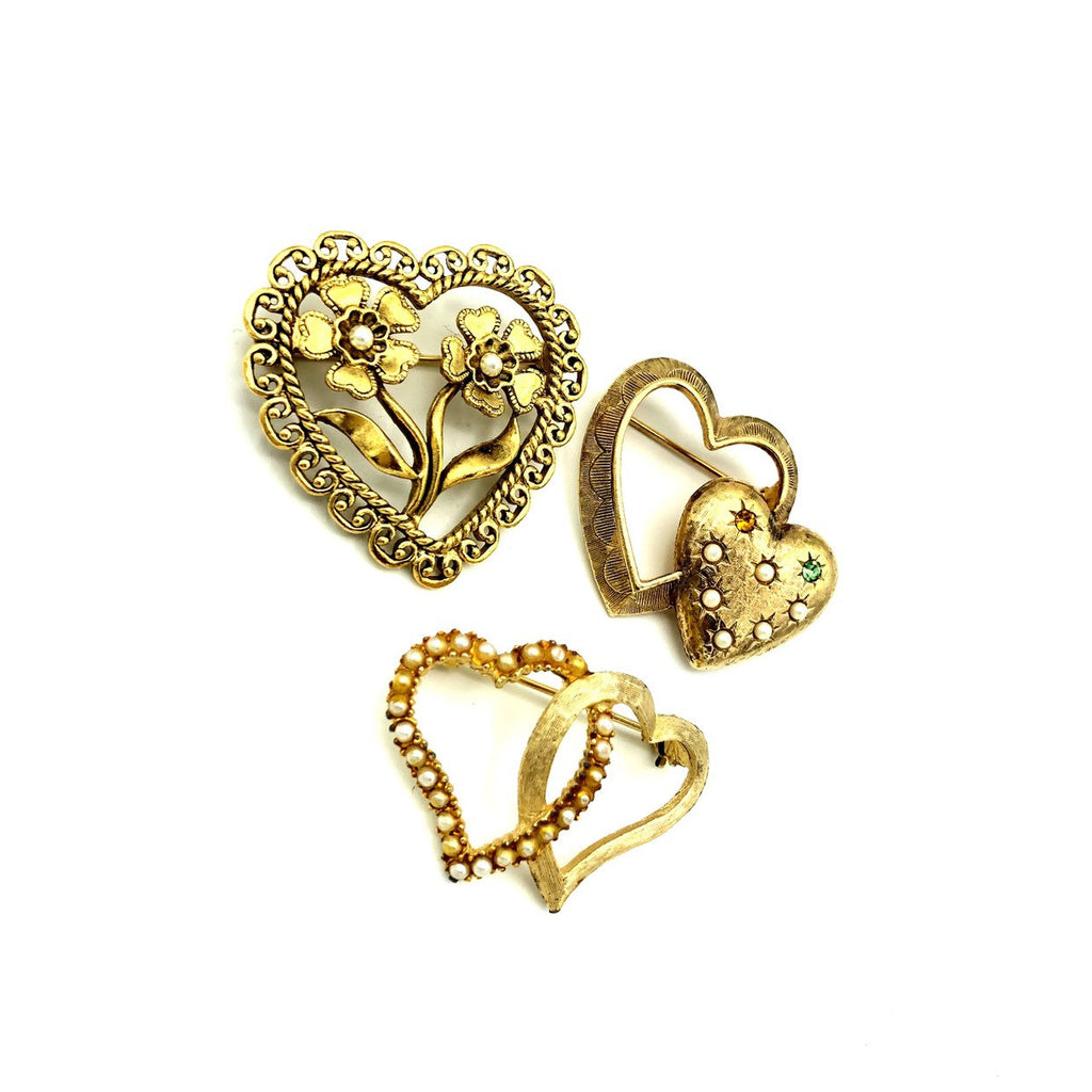 Gold Vintage Hearts Pearl Brooch Trio Scatter Pins