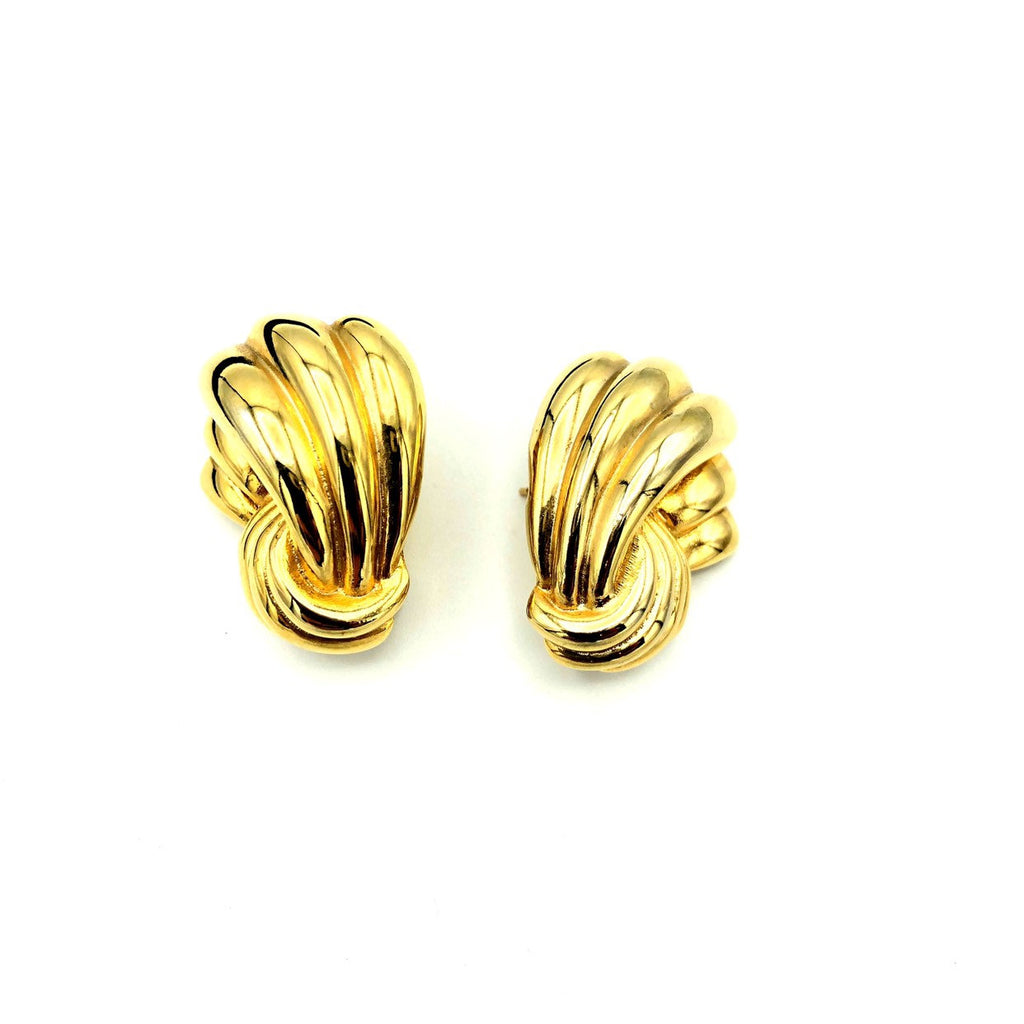 Classic Givenchy Gold Ribbon Vintage Earrings