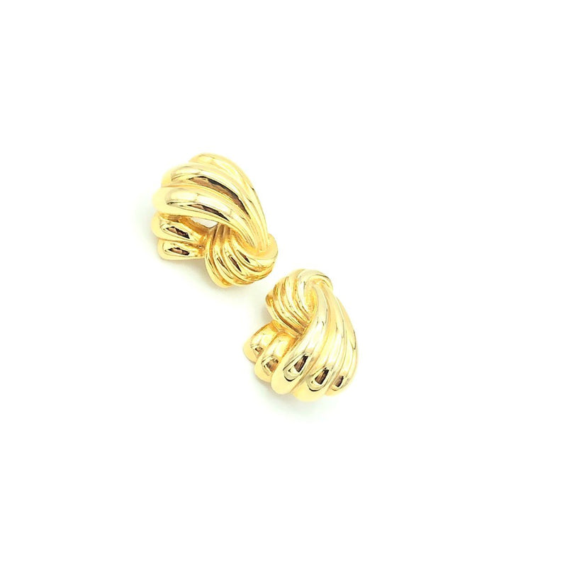Classic Givenchy Gold Ribbon Vintage Earrings-Earrings-Givenchy-[trending designer jewelry]-[givenchy jewelry]-[Sustainable Fashion]