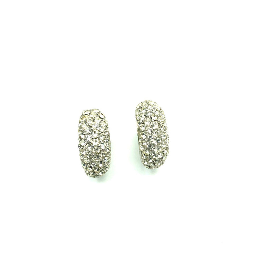 Christian Dior Classic Silver Diamante Pave Vintage Half Hoop Earrings