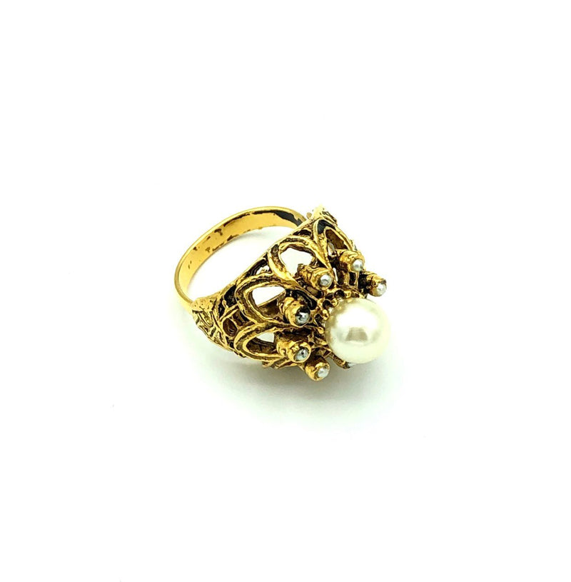 Vintage Gold Pearl Cocktail Ring