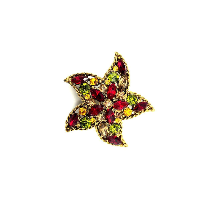 Gold Regency Red & Green Rhinestone Starfish Vintage Brooch