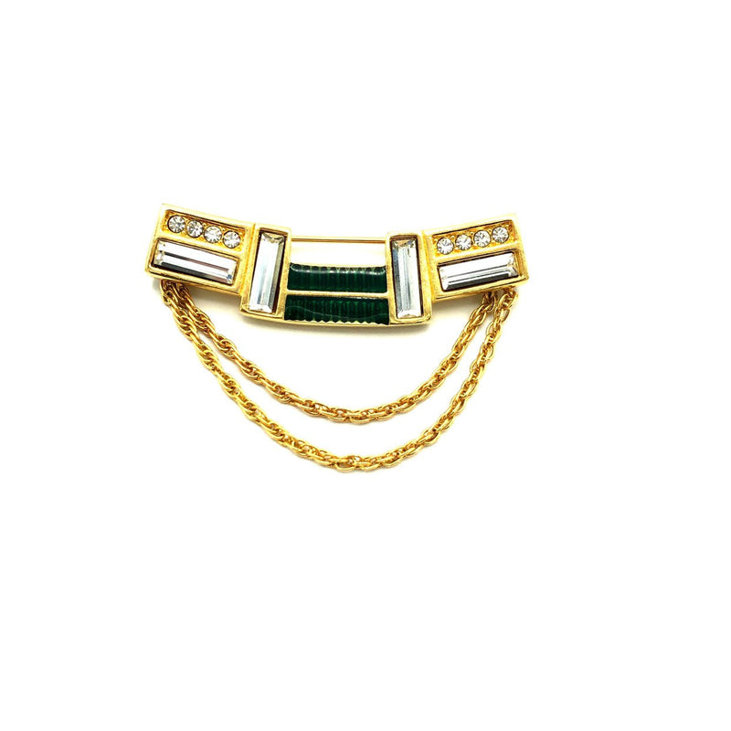 update alt-text with template Gold Swarovski Geometric Green Enamel Rhinestone Brooch-Brooches & Pins-24 Wishes-[trending designer jewelry]-[swarovski jewelry]-[Sustainable Fashion]