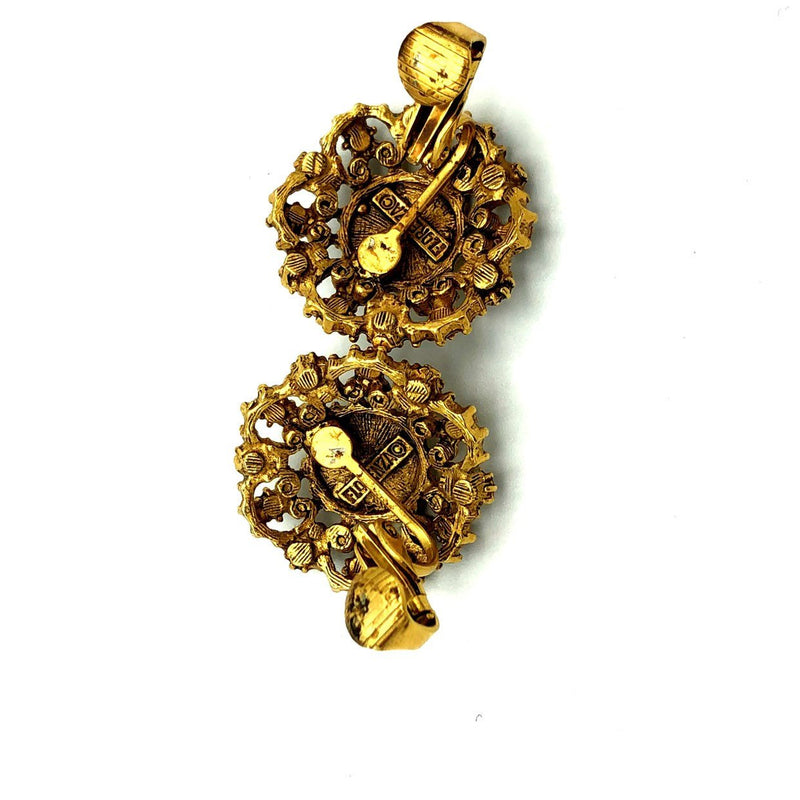 Gold Florenza Victorian Revival Vintage Earrings