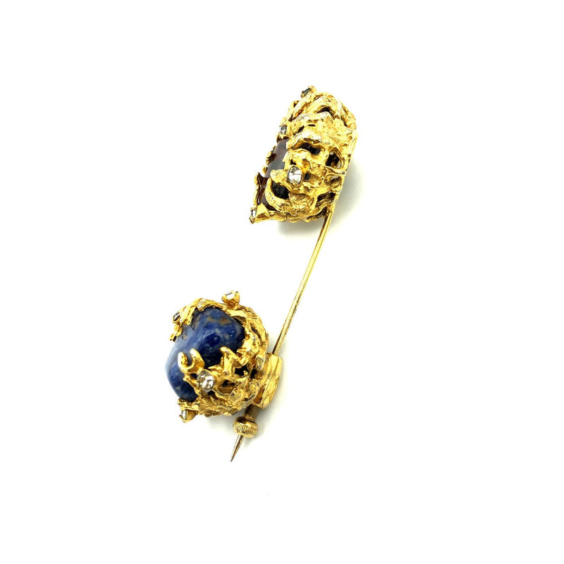 Gold Vogue Red & Blue Quartz Modernist Vintage Stick Pin-Sustainable Fashion with Vintage Style-Trending Designer Fashion-24 Wishes