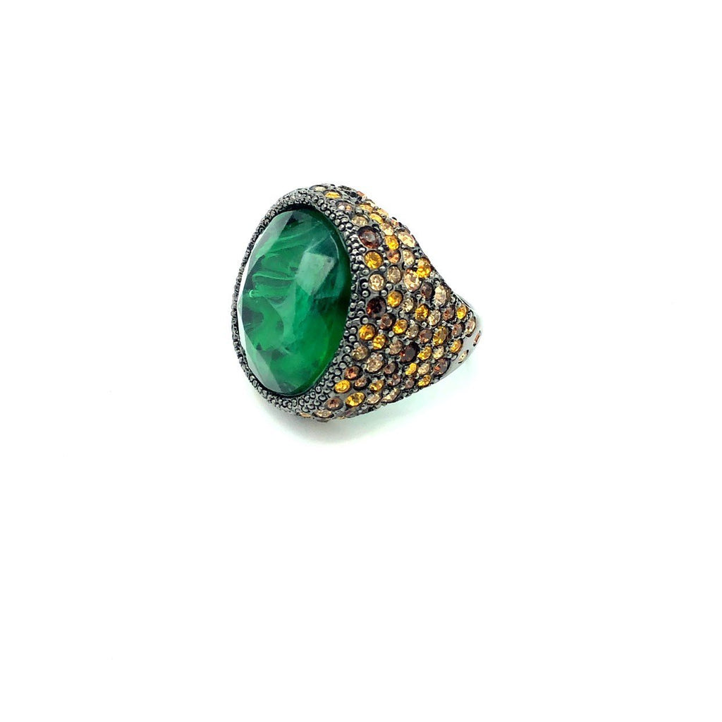 update alt-text with template Kenneth Jay Lane Green & Brown Pave Rhinestone Statement Cocktail Ring-Rings-Kenneth Jay Lane-[trending designer jewelry]-[kenneth jay lane KJL jewelry]-[Sustainable Fashion]