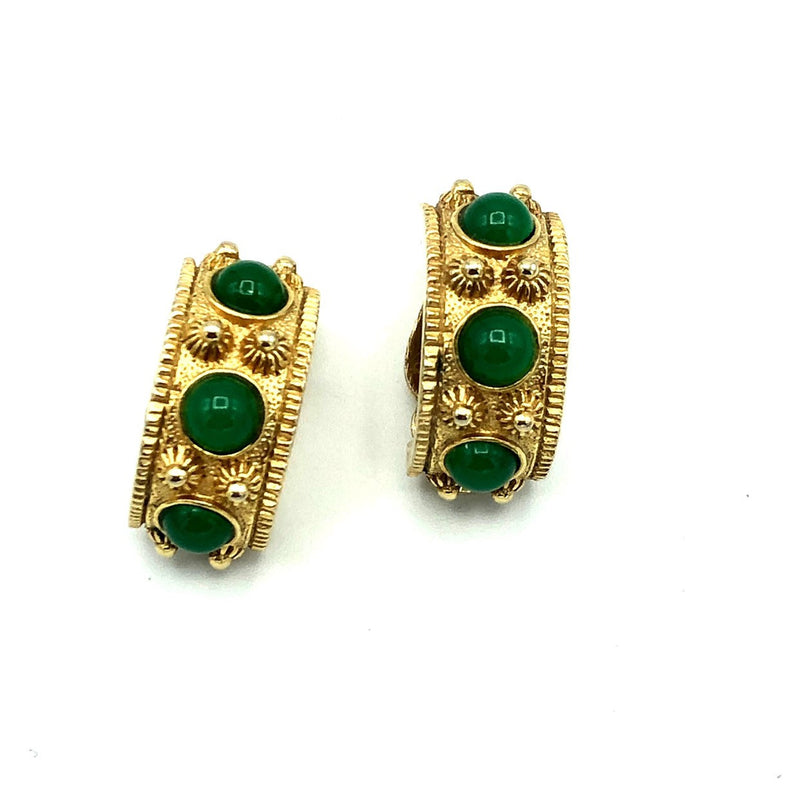 Gold Byzantine Cabochon Nettie Rosenstein Vintage Earrings-Earrings-24 Wishes