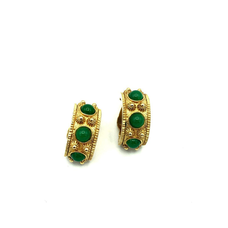 Gold Byzantine Cabochon Nettie Rosenstein Vintage Earrings