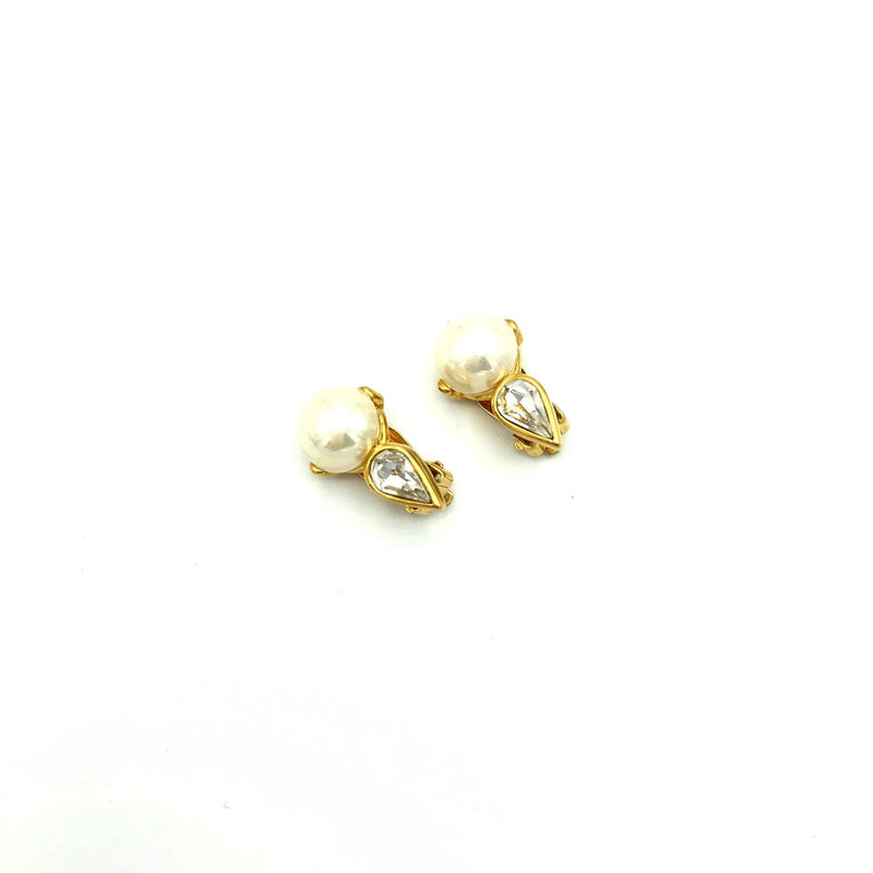 Gold Nina Ricci Classic Pearl & Rhinestone Vintage Earrings