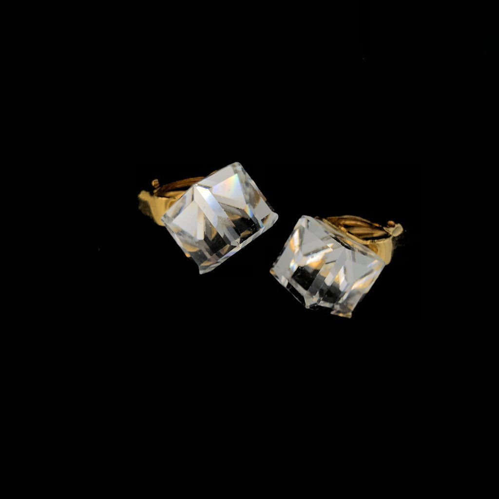 Classic Faceted Crystal Cube Square Vintage Earrings