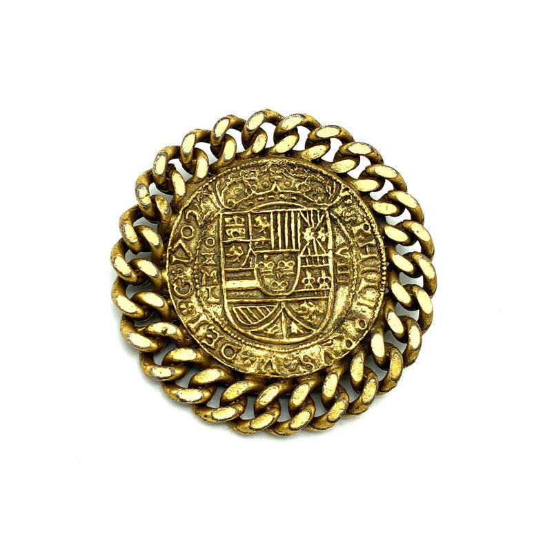 Hattie Carnegie Heraldic Coat of Arms Ancient Coin Brooch-Sustainable Fashion with Vintage Style-Trending Designer Fashion-24 Wishes