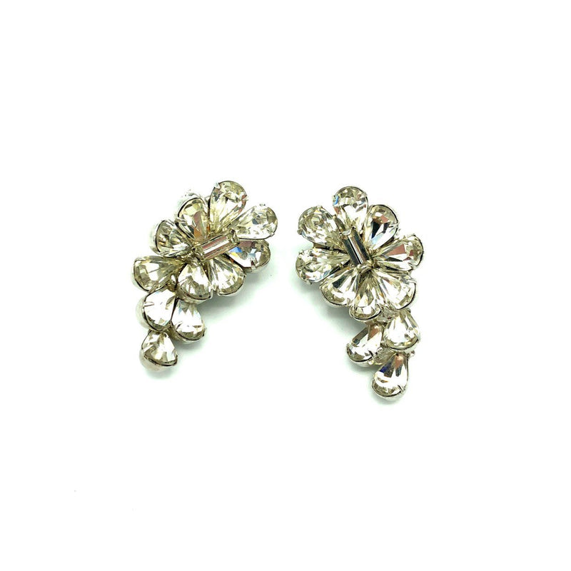 Hattie Carnegie Rhinestone Crawler Vintage Earrings
