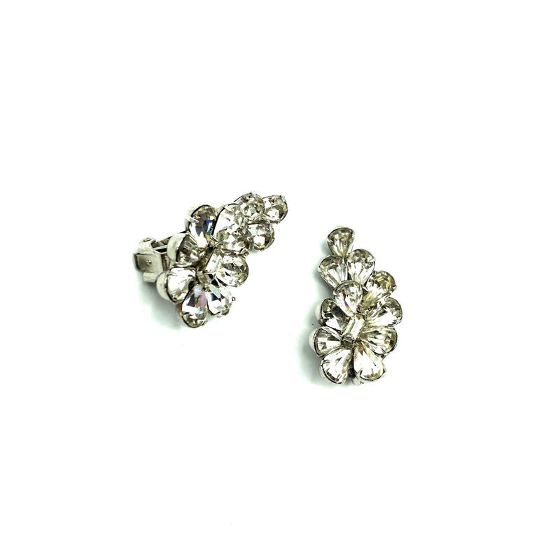 Hattie Carnegie Rhinestone Crawler Vintage Earrings-Sustainable Fashion with Vintage Style-Trending Designer Fashion-24 Wishes