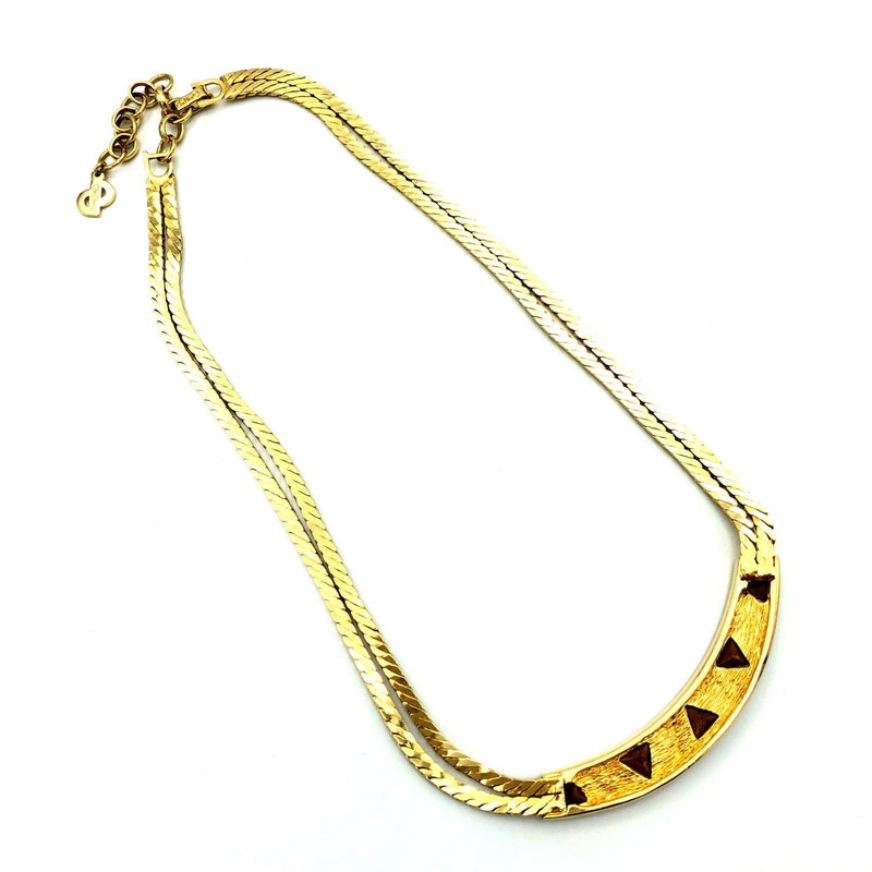 Vintage Gold Christian Dior Double Chain Classic Pendant