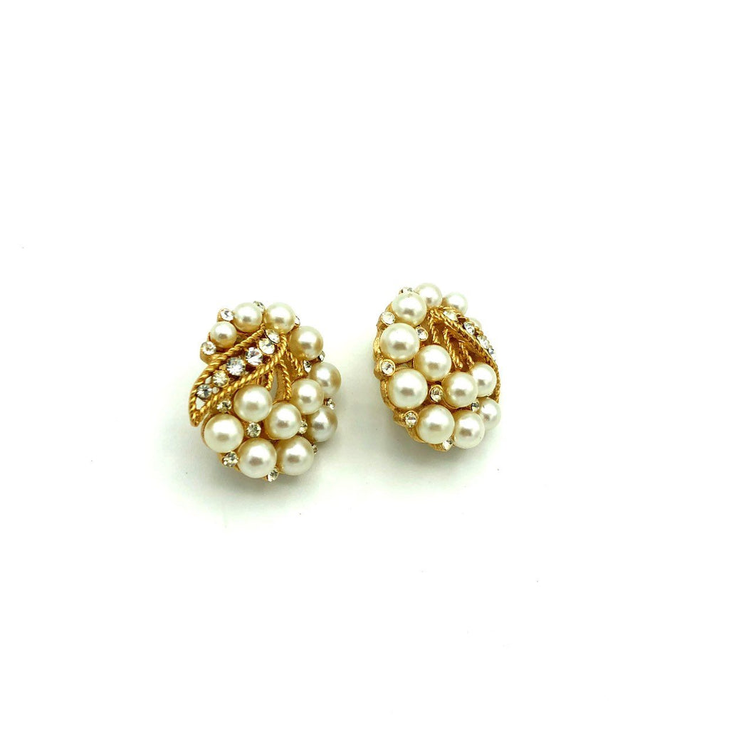 Gold Crown Trifari Pearl & Rhinestone Vintage Clip-On Earrings-Sustainable Fashion with Vintage Style-Trending Designer Fashion-24 Wishes