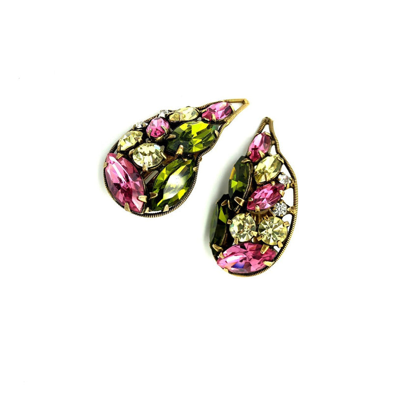 Laroco Pink Rhinestone Butterfly Crawler Vintage Earrings